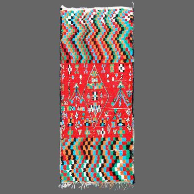 Traditionnel tapis berbère de la région d´Azilal avec un motif psychédélique.
